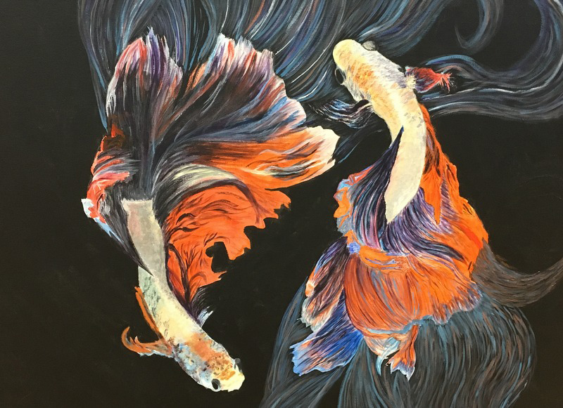painting of goldfish